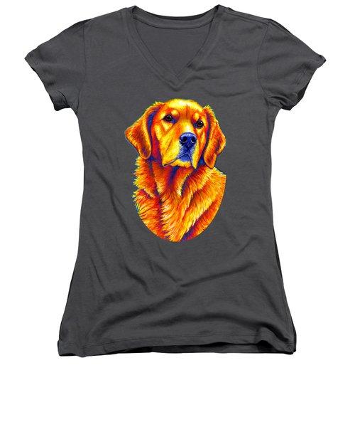 Colorful Golden Retriever Dog Women's V-Neck