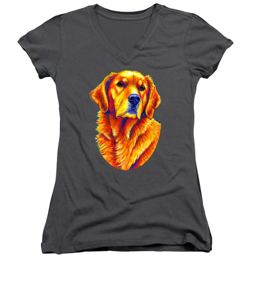 Colorful Golden Retriever Dog Women's V-Neck