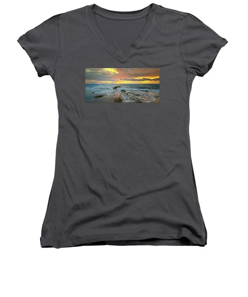 Colorful Morning Sky And Sea Women's V-Neck