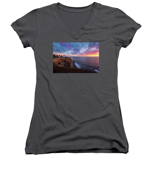 Colorful Sky After Sunset At Point Vicente Lighthouse Women's V-Neck