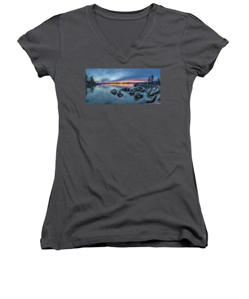 Colorful Sunset At Sand Harbor Panorama Women's V-Neck