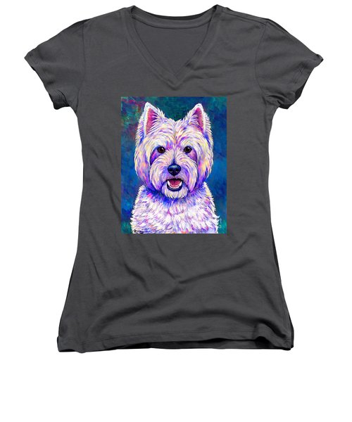Colorful West Highland White Terrier Blue Background Women's V-Neck