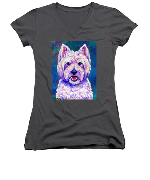 Colorful West Highland White Terrier Blue Background Women's V-Neck