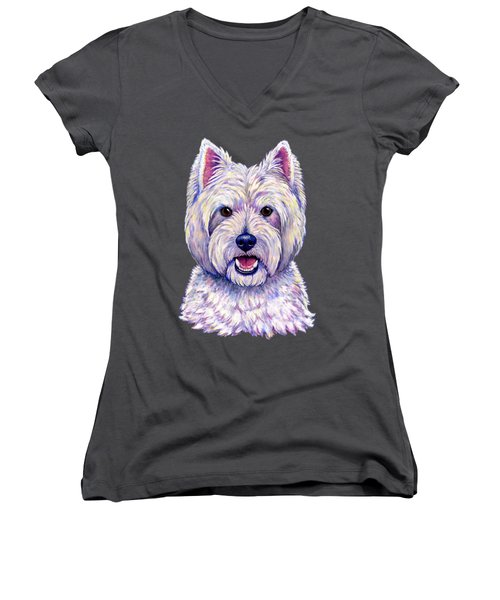 Colorful West Highland White Terrier Dog Women's V-Neck