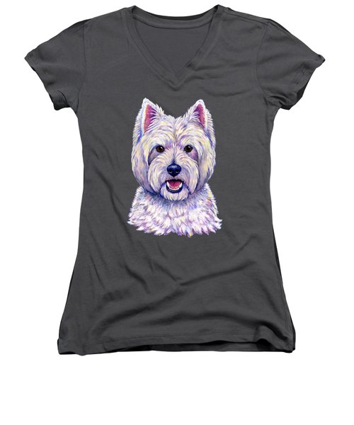 Colorful West Highland White Terrier Dog Women's V-Neck