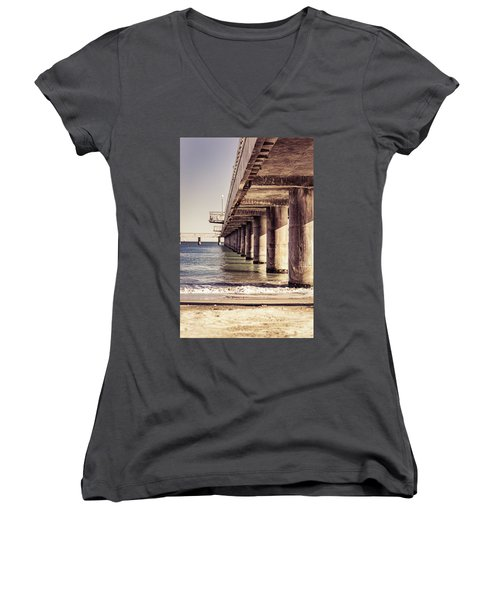 Columns Of Pier In Burgas Women's V-Neck