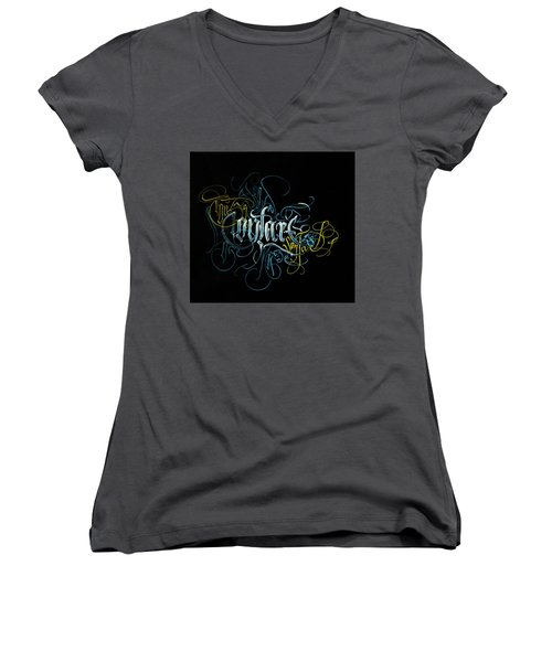 Contact. Calligraphic Abstract Women's V-Neck (Athletic Fit)