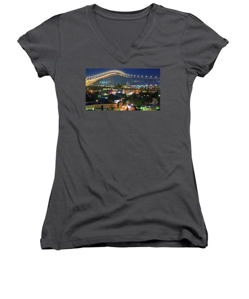 Coronado Bay Bridge Shines Brightly As An Iconic San Diego Landmark Women's V-Neck