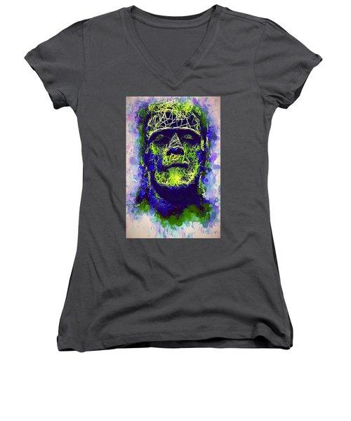 Frankenstein Watercolor Women's V-Neck