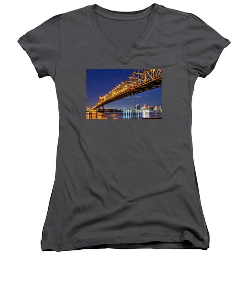The Crescent City Bridge, New Orleans  Women's V-Neck
