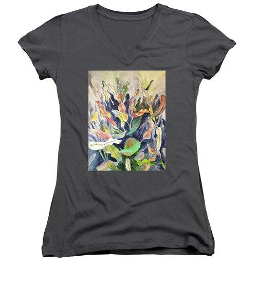 Croton Plant Women's V-Neck