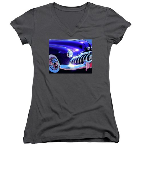 Custom 1949 Purple Buick Women's V-Neck