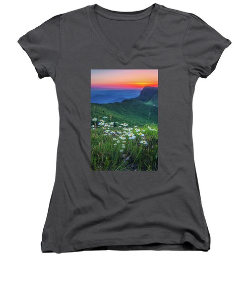 Daisies In The Mountain Women's V-Neck