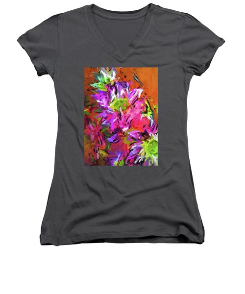 Daisy Rhapsody In Purple And Pink Women's V-Neck (Athletic Fit)