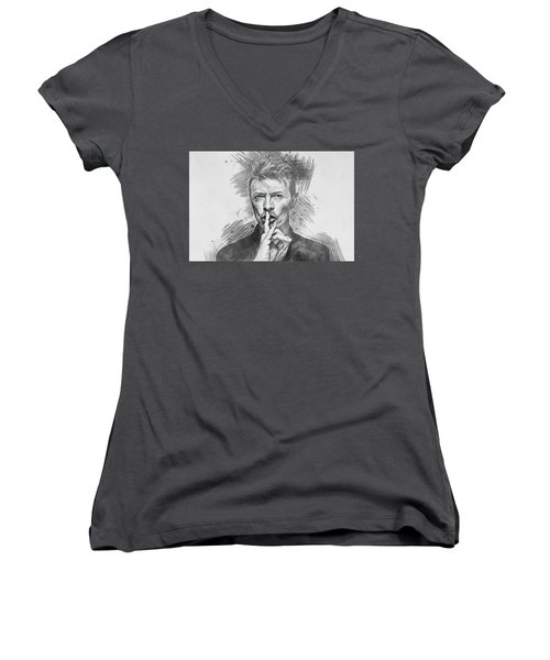 David Bowie. Women's V-Neck