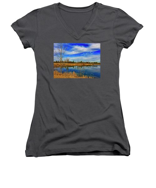 Women's V-Neck featuring the photograph Depoorter Lake by Dan Miller