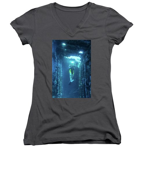 Diver In The Patris Shipwreck Women's V-Neck
