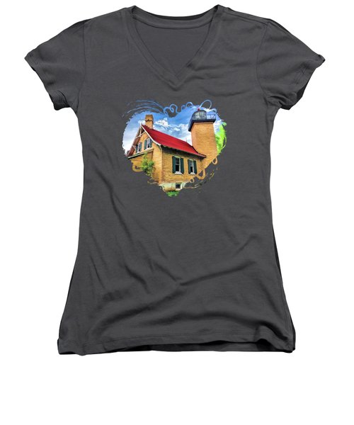 Door County Eagle Bluff Lighthouse Women's V-Neck