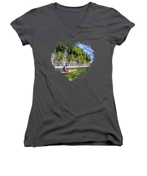 Door County Kayaking Around Rock Island State Park Women's V-Neck
