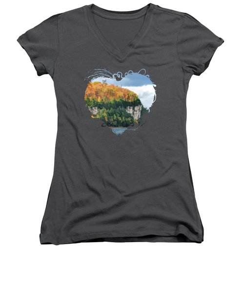 Door County Peninsula State Park Bluff Panorama Women's V-Neck