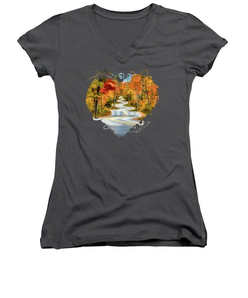 Door County Road To Northport In Autumn Women's V-Neck