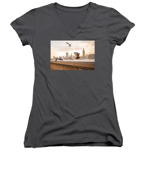 Doves And Seagulls Over The Thames In London Women's V-Neck