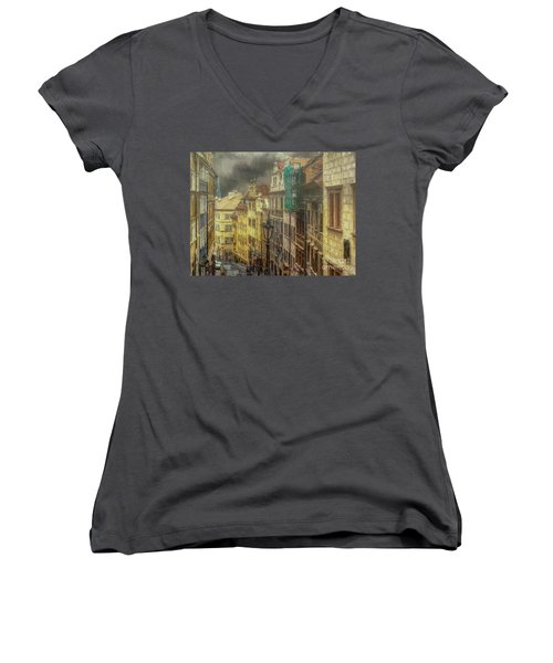 Downhill, Downtown, Prague Women's V-Neck