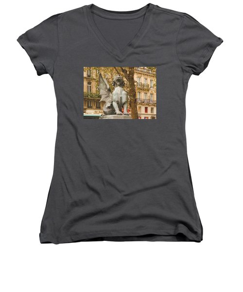Dragon On The Boulevard  Women's V-Neck