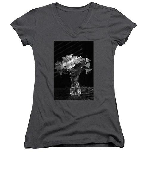Dramatic Flowers-bw Women's V-Neck
