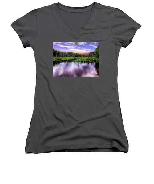 Dusk Falls Over New England Beaver Pond. Women's V-Neck