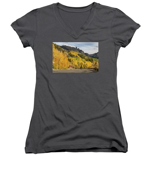 Women's V-Neck featuring the photograph Easy Autumn Rider by James BO Insogna