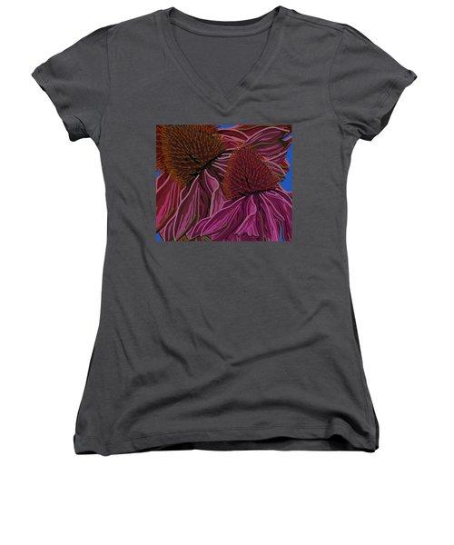 Echinacea Flower Blues Women's V-Neck