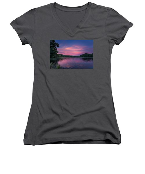 Evening At Springfield Lake Women's V-Neck