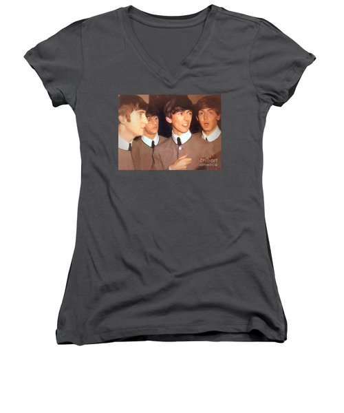 Fab Beatles Women's V-Neck