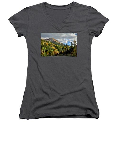 Fall Color Aspens Beneath Red Mountain Women's V-Neck