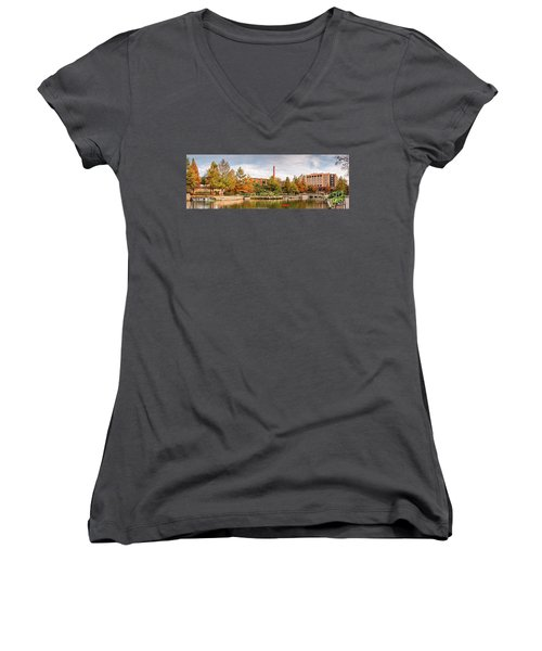 Fall Panorama Of Pearl Brewery, Hotel Emma, And San Antonio Riverwalk - Bexas County Texas Women's V-Neck