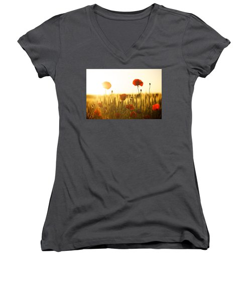 Field Of Poppies At Dawn Women's V-Neck