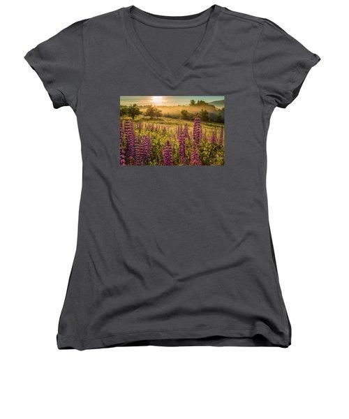 Fields Of Lupine Women's V-Neck