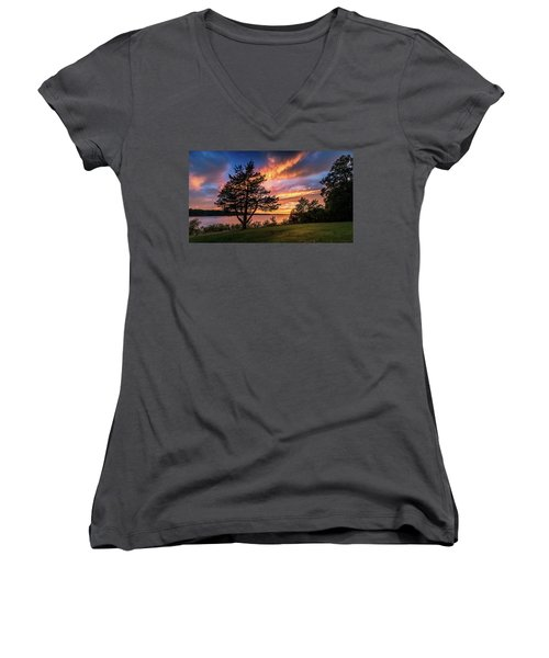 Fishing At End Of Day Women's V-Neck