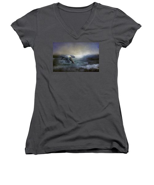 Fishing In The Storm Women's V-Neck