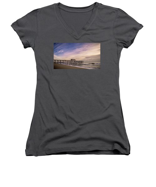 Women's V-Neck featuring the photograph Fishing Pier Sunrise by Steve Stanger