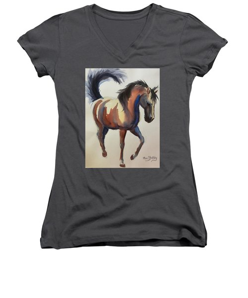 Flashing Bay Horse Women's V-Neck