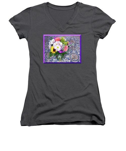 Flower Bouquet  Women's V-Neck