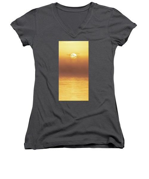 Foggy Wetlands Sunrise Women's V-Neck