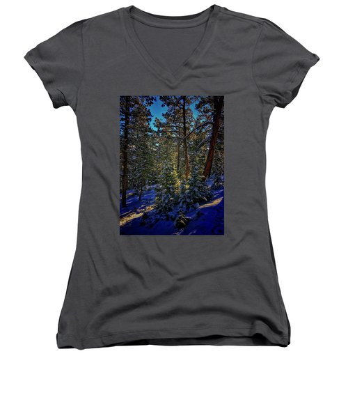 Women's V-Neck featuring the photograph Forest Shadows by Dan Miller