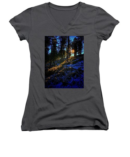 Women's V-Neck featuring the photograph Forest Sunrise by Dan Miller