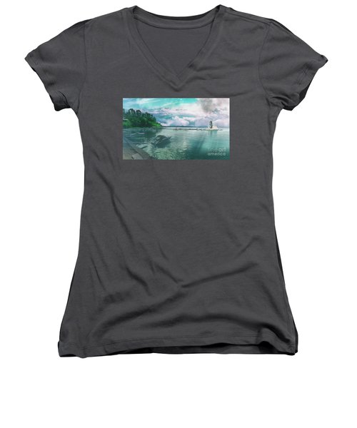 Women's V-Neck featuring the photograph From The Causeway Pontikonisi Corfu by Leigh Kemp