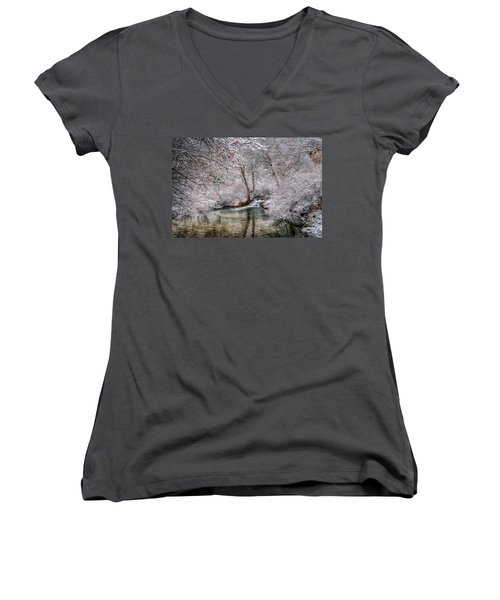 Women's V-Neck featuring the photograph Frosty Pond by Fiskr Larsen