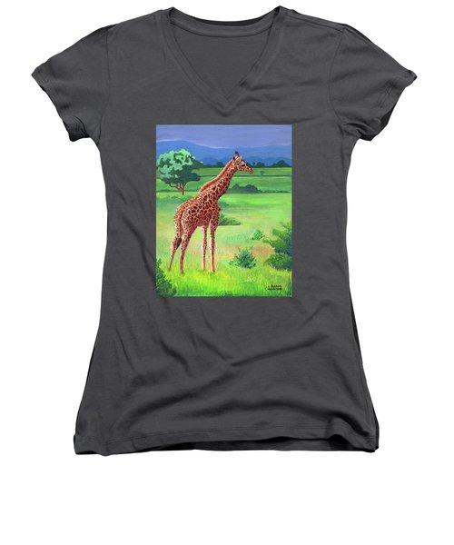 Giraffe Women's V-Neck
