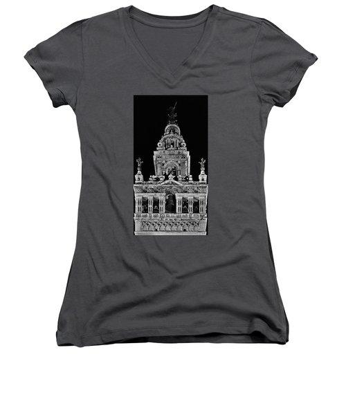 Giralda Tower In Monochrome. Seville Women's V-Neck